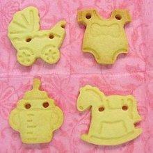 收涎造型餅乾16片(木馬+嬰兒車+童裝+奶瓶)~收口水手工餅乾, 彌月餅乾╭ 蓁橙烘焙 ╮
