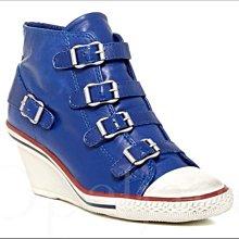 ASH Genial 四扣環仿舊高筒運動休閒鞋帆布鞋真皮厚底楔型鞋 35號 愛Coach包包