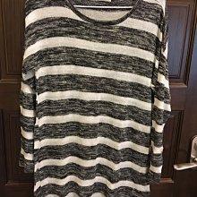 九成新專櫃真品~PULL&BEAR黑白色條紋長版休閒針織上衣~EUR SIZE:S(MEX:26)~台北市/新店區可面交