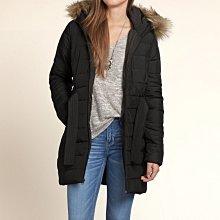 美國Hollister女裝Scripps Pier Parka M號黑色毛毛帽緣長板暖和有腰帶合身連帽外套含運在台現貨