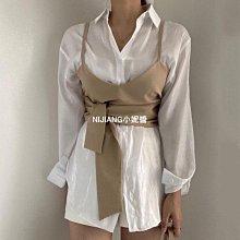 韓國chic秋季小眾蝴蝶結吊帶背心+翻領單排扣光澤感寬松長袖襯衫-NIJIANG小妮醬