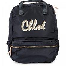 全新品折扣 專櫃購入公司貨 Chloe Logo 校園 深藍色 後背包 書包 可調背帶 backpack 非Coach Celine