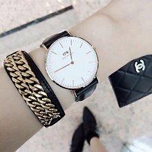 Daniel Wellington 玫瑰金色腕錶 棕色皮革錶帶