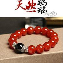 原創天然紅瑪瑙手鍊 藏銀配黑瑪瑙飾品 情侶款韓版