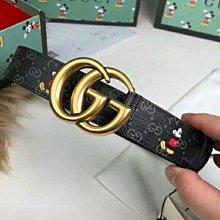 全新Gucci 米奇聯名款雙G古銅金色logo腰帶
