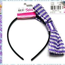 ☆POLLY媽☆歐美Justice黑、水藍、紫色/銀白條紋亮片絲緞大蝴蝶結(9.5×16cm)包緞窄版髮箍USD$12