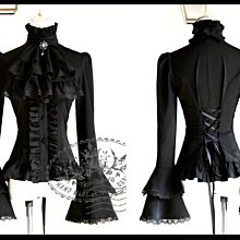 *mini PUNK LOLO*歐洲中古世紀-法式凡爾賽宮廷優雅華麗雙層荷葉領蕾絲襯衫(黑色.TP00086N )