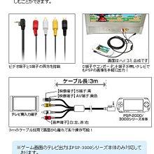 Cyber日本原裝 PSP 2000/3000型專用 S端子+AV端子3公尺 輸出影像傳輸線【板橋魔力】