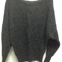 日本貴婦品牌 CLEAR IMPRESSION 鐵灰色100%羊駝毛 ALPACA 飛鼠袖長袖花紋毛衣