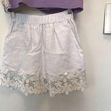 正韓 亞麻白色短褲 韓國製 可當裙子安全褲 一褲多用