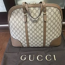 二手Gucci極新大款牛皮邊貝殼包(卡其棕)
