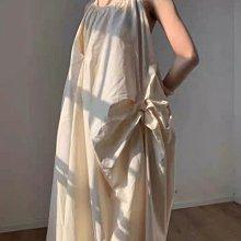 新品搶先看-立體剪裁 垂墜感 米色氣質 兩種綁法 蝴蝶結 抓皺 夏日渡假 小眾 長洋裝
