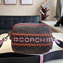 COACH 1541 新款女士相機包 刺繡老花圖案單肩斜背包 可放長夾
