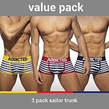 ADDICTED AD965P 3 PACK SAILOR TRUNK 四角 內褲 超值三件組【G-Punch】