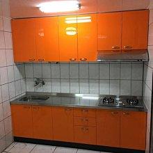 名雅廚具243公分不鏽鋼檯面+上櫃F1木心桶身+下櫃ST桶身+五面封結晶門板