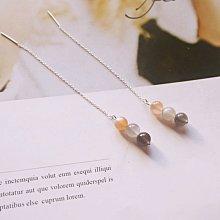 【彩色月光石◎純銀耳環】925純銀 耳鍊 耳環