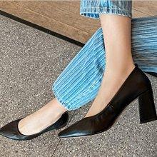 Fashion*高端定製尖頭舒適軟牛皮奶奶鞋 工作鞋 粗跟中跟鞋 四季單鞋/跟高5/7CM 33-42碼 米白 杏色 棕