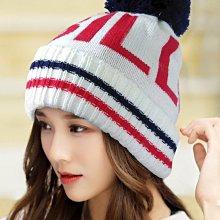 【秋冬必備款 R222-2 BIG BILL造型球球毛帽 】米白色紅字深藍球  帽子專賣店