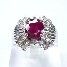【連漢精品交流中心】《天然紅寶石 1.61CT 》14白K金設計款奢華 紅寶石鑽戒 (女戒)~ 5555168