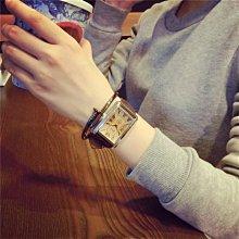 YOYO日韓代購~韓國經典復古休閒皮帶氣質手錶潮流學生時尚英倫風長方形男女腕錶