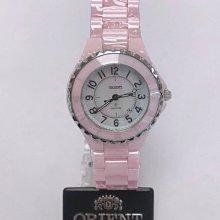 可議價 ORIENT東方錶 女 粉紅陶瓷時尚 石英腕錶 (HE7PC21S)
