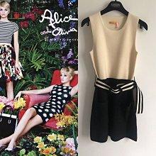 (Sold Out)Alice & Olivia 美國真品黑白羊毛洋裝附腰帶