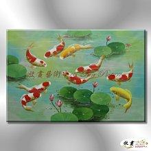 【放畫藝術】九如魚032 純手繪 油畫 橫幅 多彩 暖色系 招財 求運 開運畫 事事如意 客廳掛畫 藝術品 年年有餘