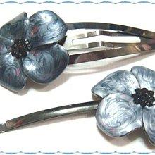 ☆POLLY媽☆歐美claire's黑鑽花芯鐵灰色、銀灰色琺瑯花朵黑銅金屬彎弧大一字夾、水滴夾