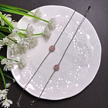 天然粉晶手鍊 粉水晶925銀鑲鑽鋯石百搭手鏈飾品配件《舒唯水晶》