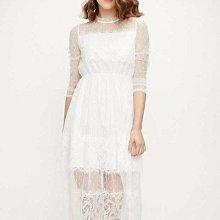 賠本清倉 仙氣十足 白色高檔蕾絲洋裝 /禮服 M碼