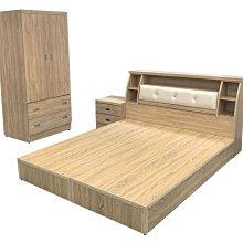 台中二手家具西屯樂居全新中古傢俱WG12FH*全新梧桐5X6雙人床底+床頭櫃+床邊櫃+3尺衣櫃*臥室家具 床組 新竹台北