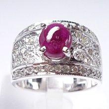 【連漢精品交流中心】《天然紅寶石 1.12CT 》14白K金設計款奢華 紅寶石鑽戒 (女戒)~