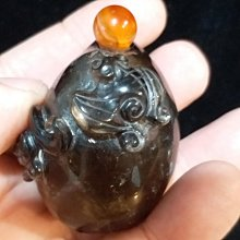 天然老水晶 清代 純天然黑水晶 立體圓雕 福在眼前鼻煙壺(蝙蝠+福瓜) +原裝蓋 小擺件』H