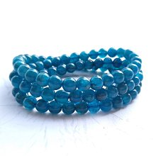 ☆采鑫天然寶石☆ **清澈霓藍** 頂級藍磷灰石圓珠手鍊~6.3mm~可繞三圈~極美