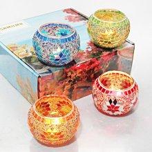 熱銷#禮品4件套彩色圓球馬賽克玻璃燭臺浪漫晚餐裝飾擺設送人禮物#燭臺#裝飾