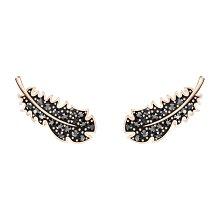 Swarovski 施華洛世奇黑色羽毛造型水晶耳環  《愛的迫降》同款造型