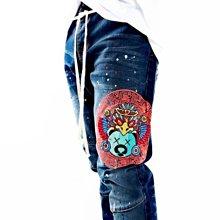 Cover Taiwan 官方直營 Civilized 水洗 牛仔褲 機車褲 塗鴉 潑墨 嘻哈 刺繡 藍色 (預購)