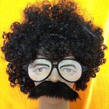 爆炸頭 兩津勘吉 搞笑人物裝扮 假髮 眼鏡 鬍子(三件套餐) 萬聖節/派對/角色扮演/變裝【P33000601】塔克