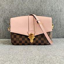 【哈極品】二手美品 《Louis Vuitton LV 棋盤格 粉玉蘭色CLAPTON系列上蓋式 肩背包》N44244