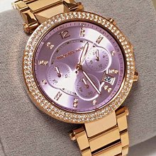 Michael KORS MK6169 玫瑰金 晶鑽 紫色錶面 不銹鋼錶帶 三眼計時腕錶 MK女錶