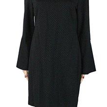 全新有吊牌美國真品Lauren Ralph Lauren 黑色小白點小喇叭袖長袖及膝洋裝12號