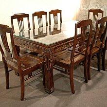 大台南冠均實木家具批發倉庫---自辦進口 全新仿古 雞翅木 餐桌椅組 用餐桌椅 會議桌 1桌+6椅 *原木家具MB062