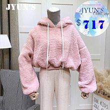 JYUN'S 新款出清韓范學院風減齡連帽上衣羊羔毛衛衣保暖上衣長袖上衣短版上衣 粉色 現貨
