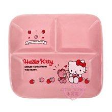 ♥小花花日本精品♥HelloKitty小熊草莓造型粉色方形陶瓷盤餐盤分隔盤三格盤~3
