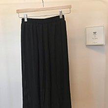 正韓 黑色百摺裙半身雪紡裙 鬆緊帶 韓國製 S號