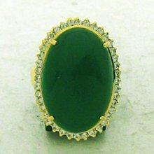 順利當舖 超大尺寸天然蛋面綠玉隨18K金鑽石戒子