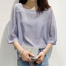 雪紡襯衫一字領短袖女2021夏新款韓版條紋寬松泡泡袖上衣洋氣小衫
