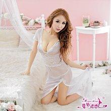 性感睡衣 二色蕾絲薄紗長版開岔情趣睡衣 聖誕跨年新品 5067透視薄紗 ~時尚花園館~