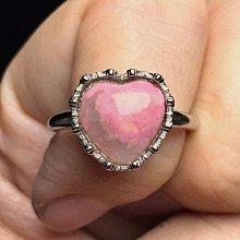 天然薔薇輝石戒指 半玉化薔薇石玫瑰石鏤空皇冠愛心造型925銀活圍戒指 飾品配件《舒唯水晶》