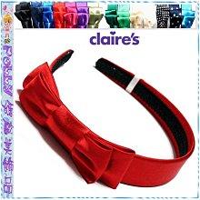 ☆POLLY媽☆歐美claire's絲緞雙層蝴蝶結髮箍~黑色、乳白、辣椒紅、玫紅、藍、綠…共14色
